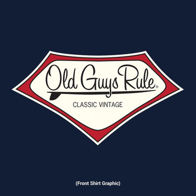 Old Guys Rule - Classic Vintage - Back In The Day - Navy T-Shirt - Front Design