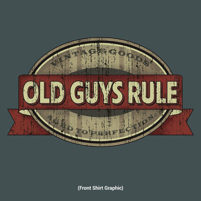 Old Guys Rule - Vintage Goods - Aged To Perfection - Dark Heather T-Shirt - Front Design