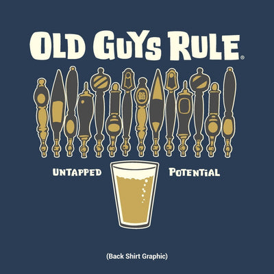 Old Guys Rule - Untapped Potential - Navy Heather T-Shirt - Back Design