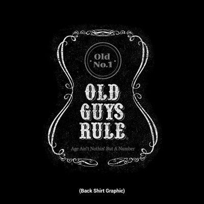 Old Guys Rule - Age Ain't Nothin But A Number - Black T-Shirt - Back Design