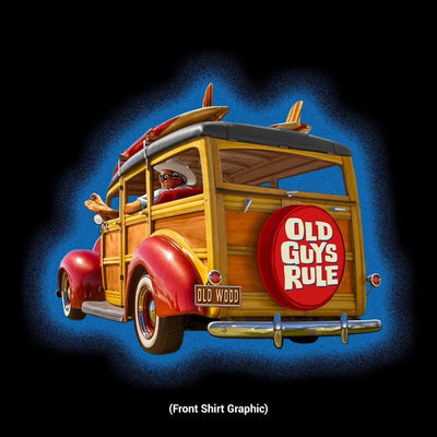 Old Guys Rule - Hula Woodie - Black Pocket T-Shirt - Front Design