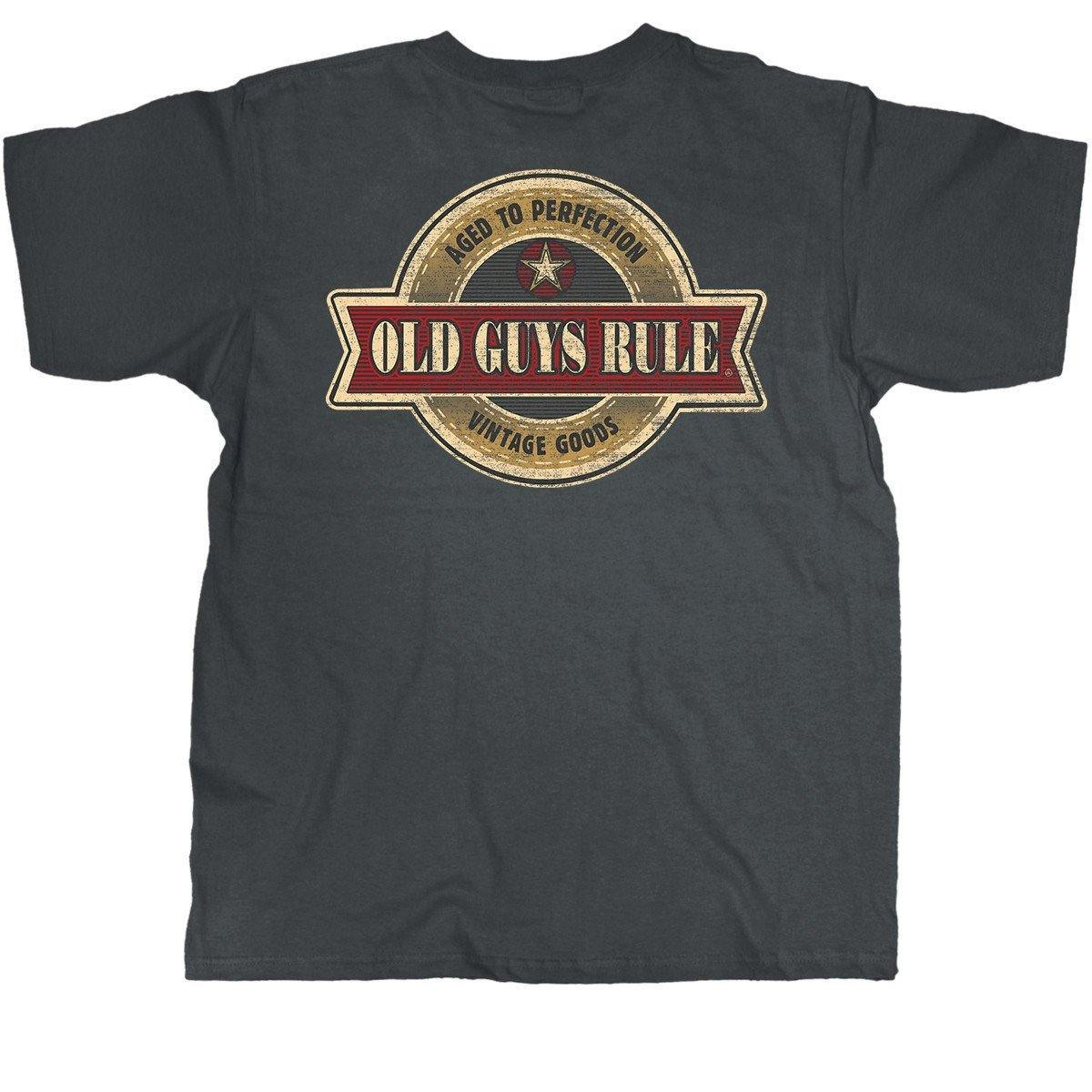 Old Guys Rule - Aged To Perfection - Vintage Goods - Charcoal T-Shirt - Design