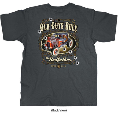Old Guys Rule - The Rodfather - Since 1932 - Charcoal T-Shirt - Back