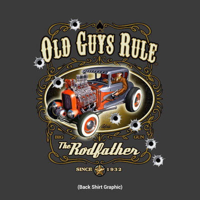 Old Guys Rule - The Rodfather - Since 1932 - Charcoal T-Shirt - Design Back