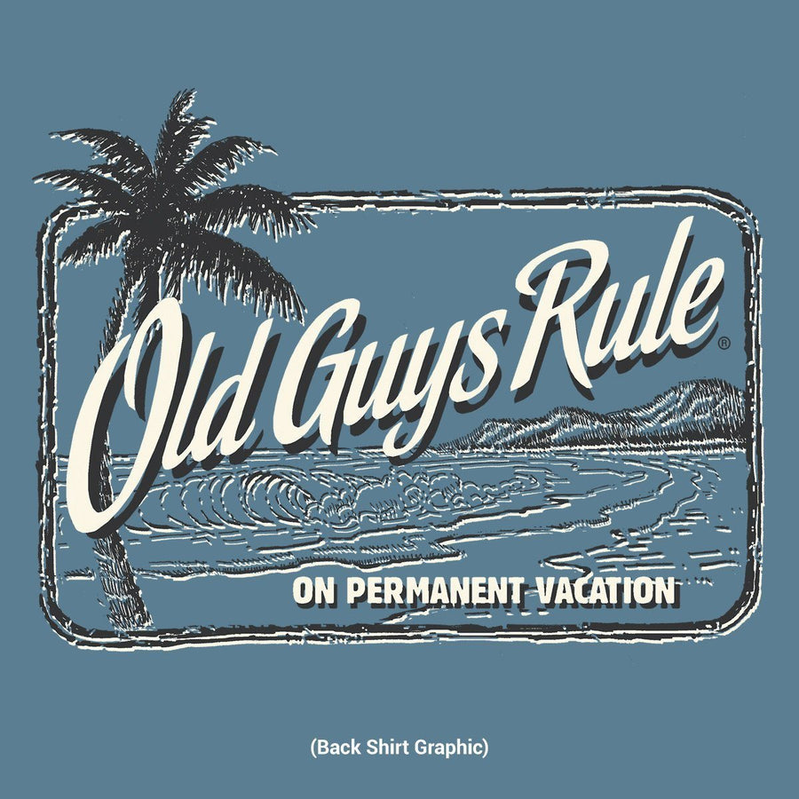 Old Guys Rule - On Permanent Vacation - Heather Indigo T-Shirt - Main View