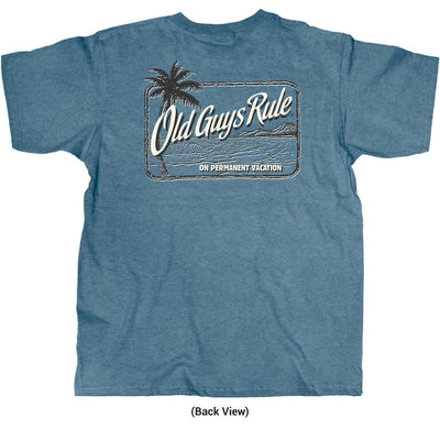Old Guys Rule - On Permanent Vacation - Heather Indigo T-Shirt - Back