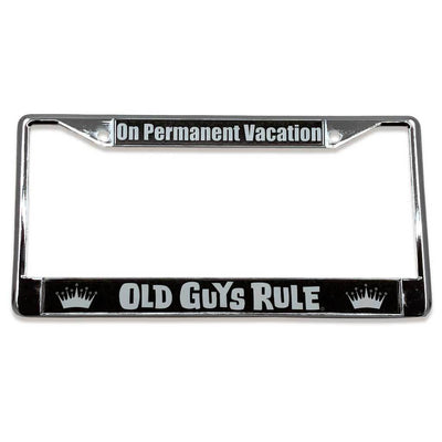 Old Guys Rule - On Permanent Vacation License Plate Cover - Straight View