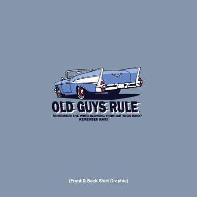 Old Guys Rule - Wind In Hair - River Blue T-Shirt - Design