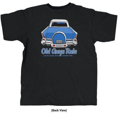 Old Guys Rule - Spare Tire - Black T-Shirt - Back