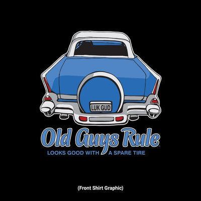 Old Guys Rule - Spare Tire - Black T-Shirt - Front Design