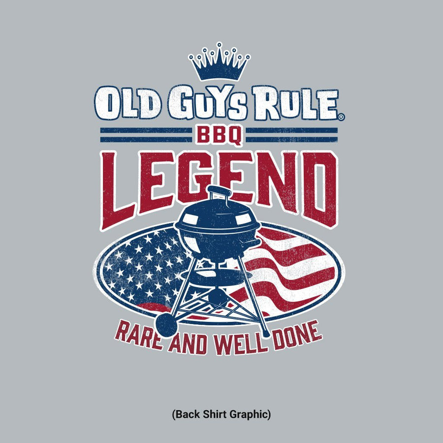 Old Guys Rule - BBQ Legend - Rare and Well Done - Sport Grey T-Shirt - Main View