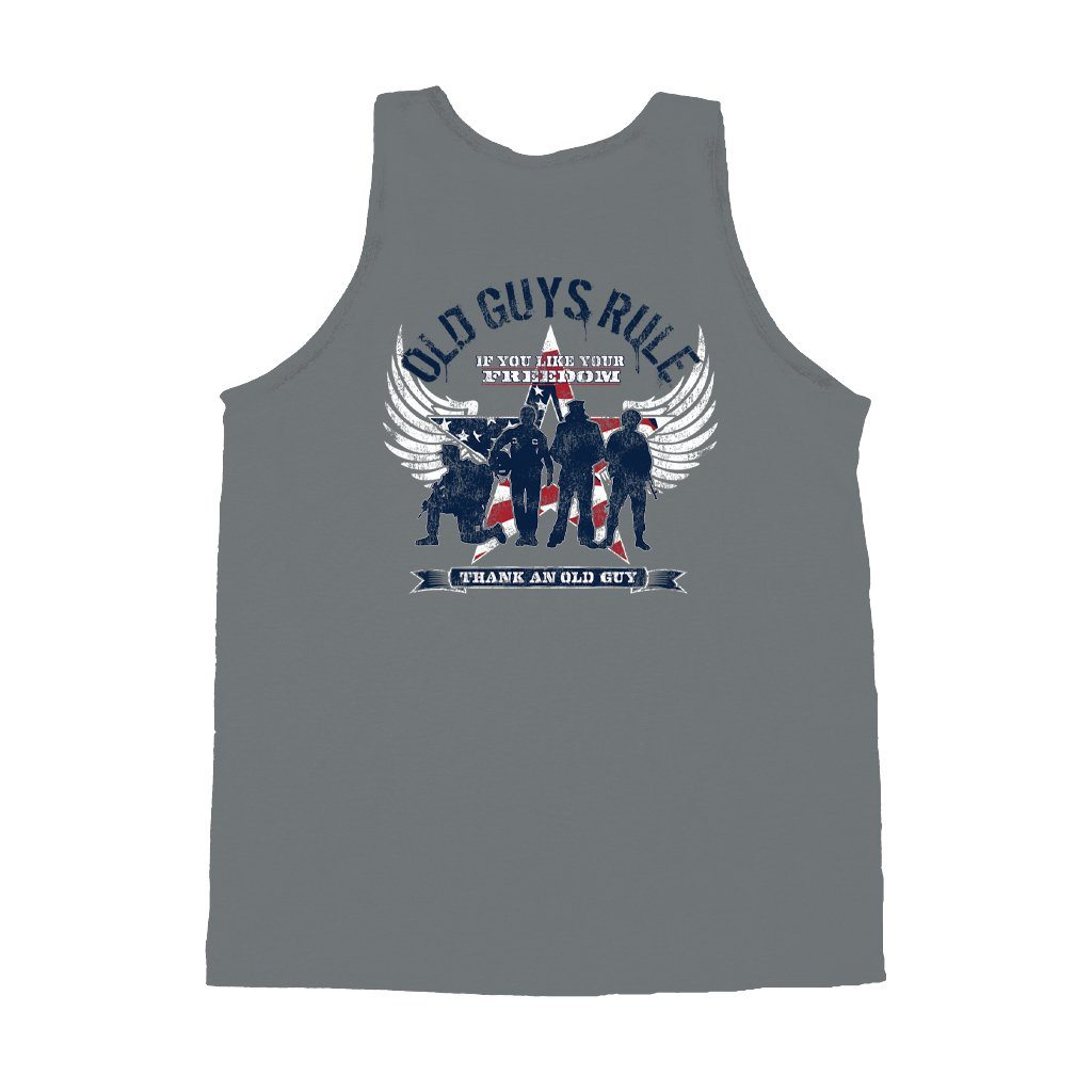 "Old Guys Rule - Freedom Star - ""If You Like Your Freedom / Thank An Old Guy - Gravel Tank Top - Main View"