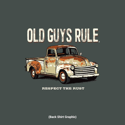 Old Guys Rule - Respect The Rust - Sport Grey T-Shirt - Back Graphic