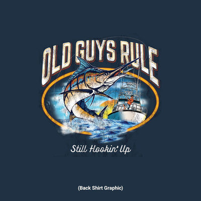 Old Guys Rule - Still Hookin' Up - Navy T-Shirt - Back Graphic