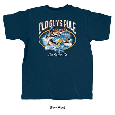 Old Guys Rule - Still Hookin' Up - Navy T-Shirt - Back View