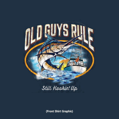 Old Guys Rule - Still Hookin' Up - Navy T-Shirt - Front Graphic