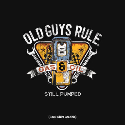 Old Guys Rule - Vintage Gas Pump - Black T-Shirt - Back Graphic
