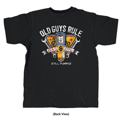 Old Guys Rule - Vintage Gas Pump - Black T-Shirt - Back View
