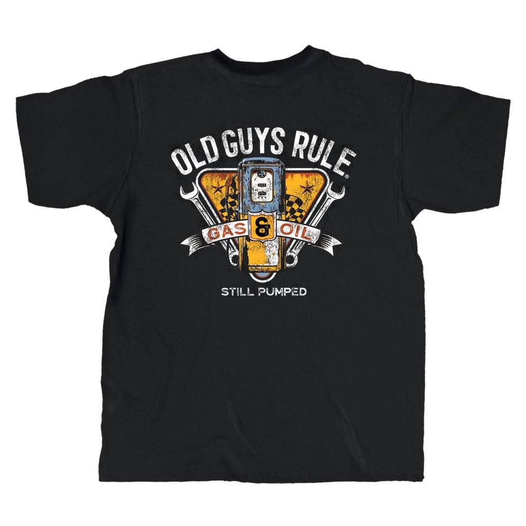 Old Guys Rule - Vintage Gas Pump - Black T-Shirt - Main View