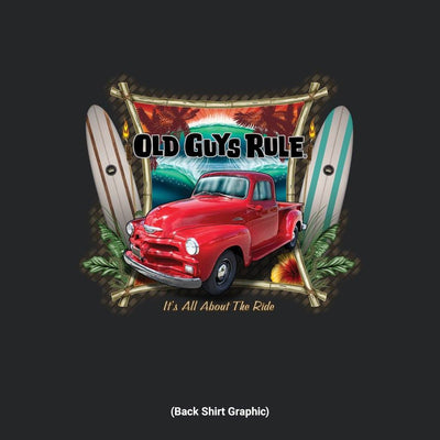 Old Guys Rule - It's All About The Ride - Black T-Shirt - Back Graphic