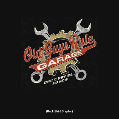 Old Guys Rule - Wrenches - Black T-Shirt - Back Graphic