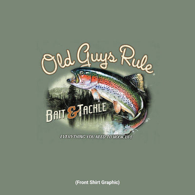 Old Guys Rule - Bait & Tackle - Heather Military Green T-Shirt - Front Design