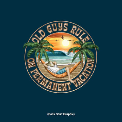 Old Guys Rule - Hammock Vacation - Navy - Back Graphic