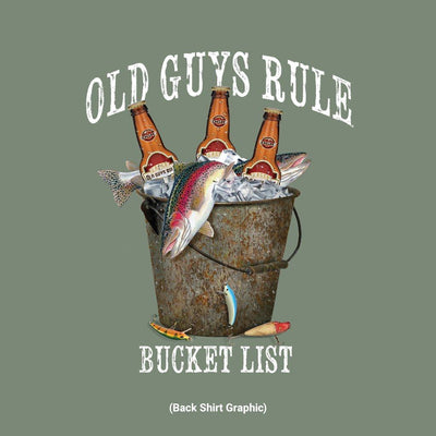 Old Guys Rule - Fresh Bucket List - Heather Green T-Shirt - Back Graphic