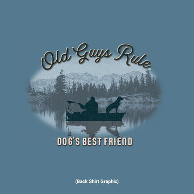 Old Guys Rule - Dog's Best Friend - Heather Indigo T-Shirt - Back Graphic