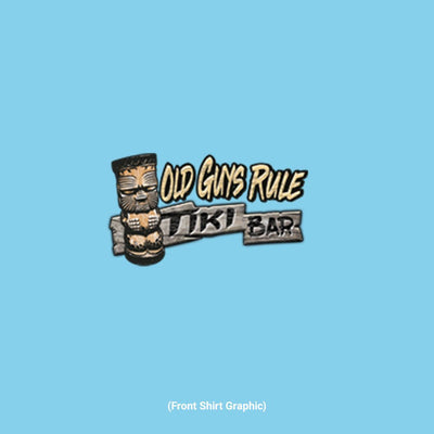 Old Guys Rule - Tiki Bar - Sky T-Shirt - Front Graphic