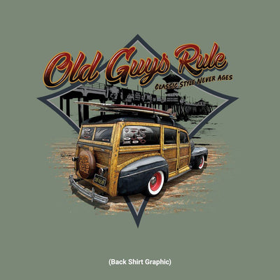 Old Guys Rule - Classic Woodie -  Heather Military Green - Back Graphic