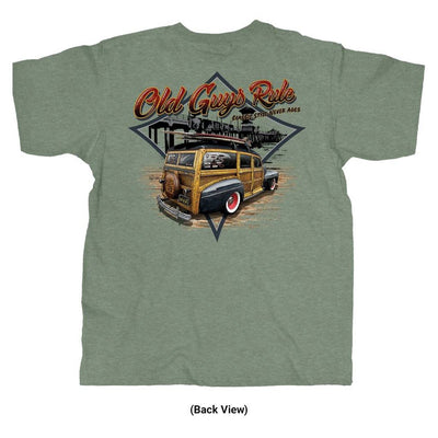 Old Guys Rule - Classic Woodie -  Heather Military Green - Back View