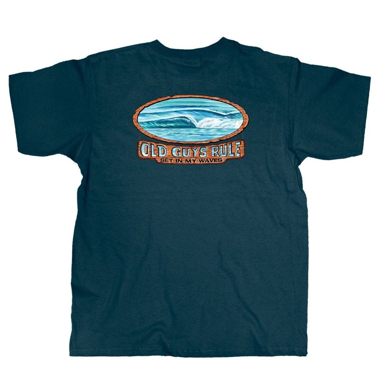 Old Guys Rule - Waves - Harbor Blue T-Shirt - Main View