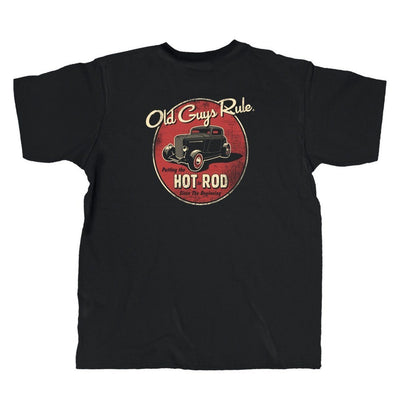 Old Guys Rule - Putting The Hot In Rod Since The Beginning - Black T-Shirt - Main View