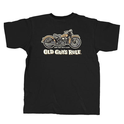 "Old Guys Rule - Pocket T-Shirt - Panhead - ""Loud, Fast, Built To Last"" - Black - Main View"