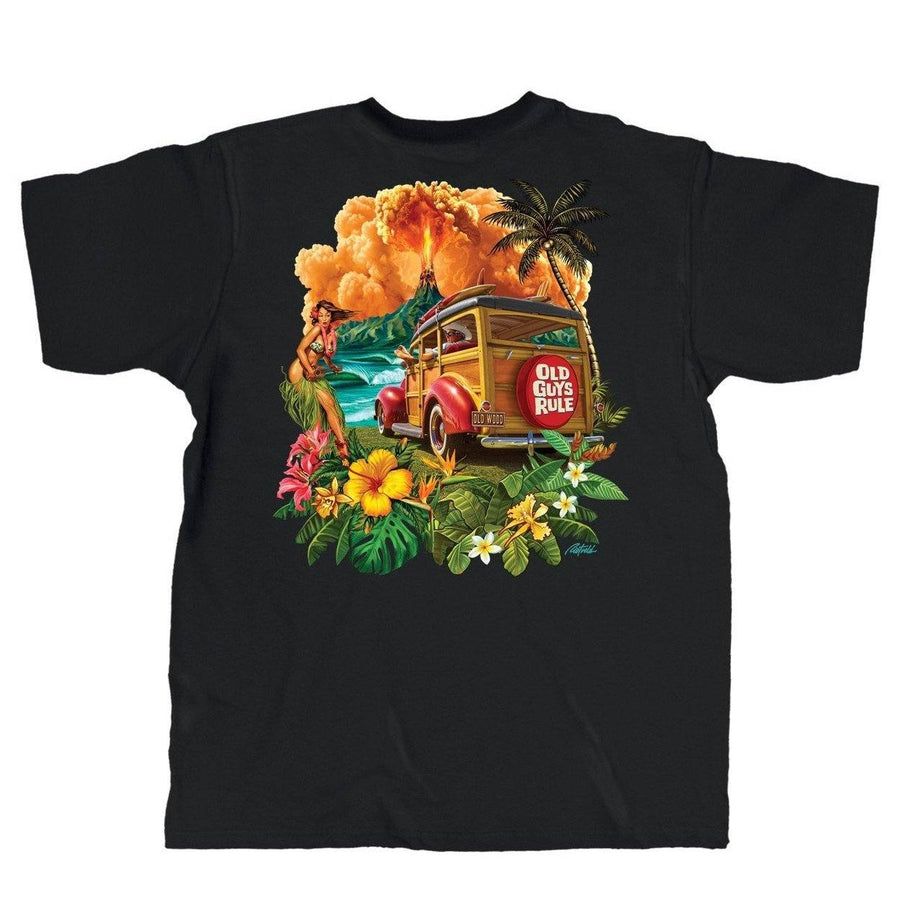 52178c6e Old Guys Rule - Hula Woodie - Black Pocket T-Shirt - Main View
