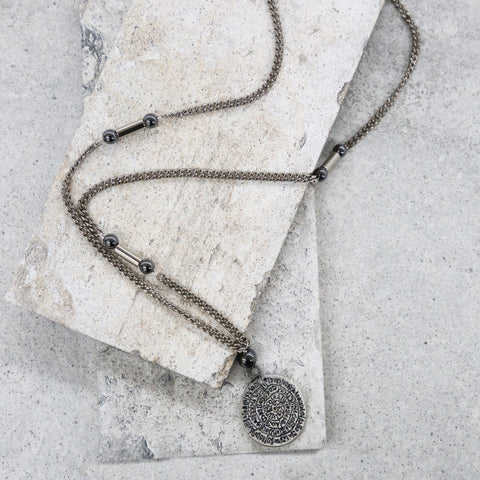 Ancient Inscriptions Necklace in Hematite and Silver Ox