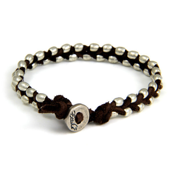 Double Silver Barrel Bead Mens Bracelet on Brown Leather