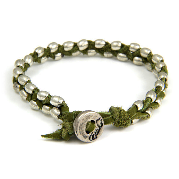 Double Silver Barrel Bead Mens Bracelet on Olive Leather