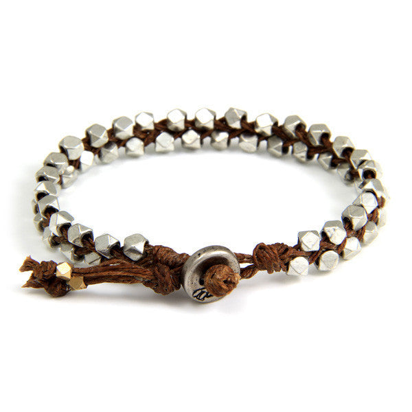 Double Silver Faceted Bead Mens Bracelet on Brown Waxed Linen