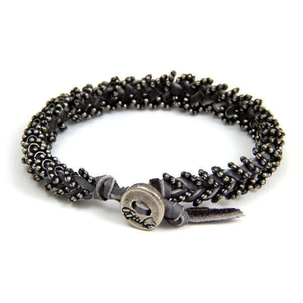 Double Silver Spacer Bead Mens Bracelet on Grey Leather