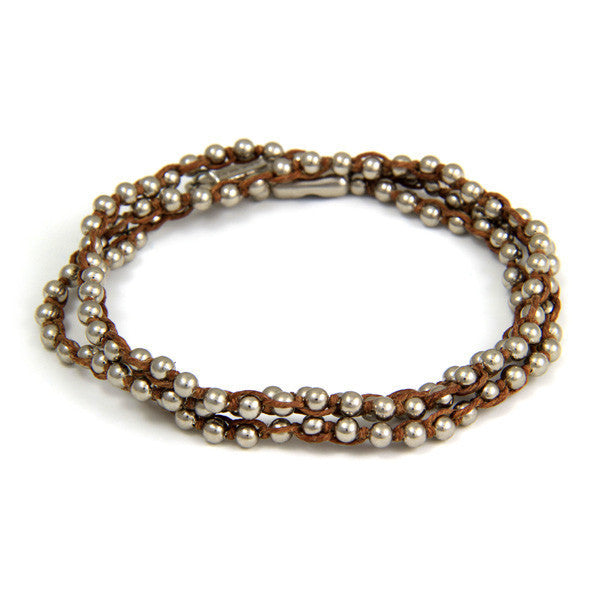 Triple Wrap Brown Waxed Linen on Silver Ball Chain Bracelet