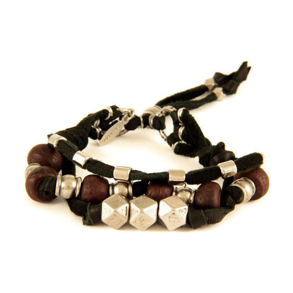 Black Multi Strand Lamb Leather Bracelet with Bodhi Seed and Metal Beads