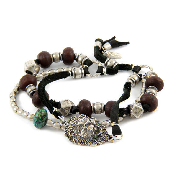 Multi Bead Black Deerskin Leather Bracelet with Turquoise Bead Nugget and Lion Head Charm
