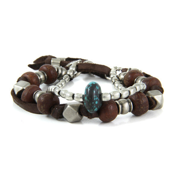 Mens Multi Bead Deerskin Leather Bracelet with Turquoise Bead Nugget and Shield Charm