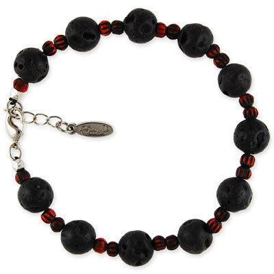 MB112A - Round Lava and Tiny Bone Bead Bracelet