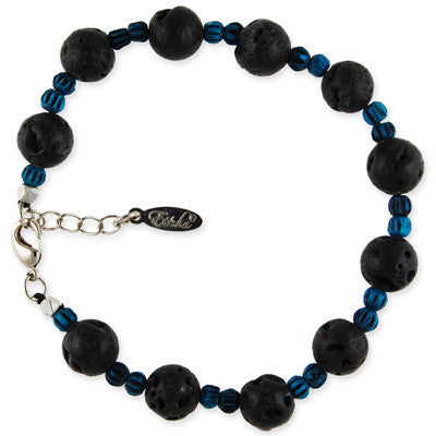 MB112E - Round Lava and Tiny Bone Bead Bracelet