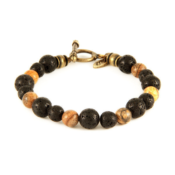 Mens Lava Bead and Jasper Stone Bracelet