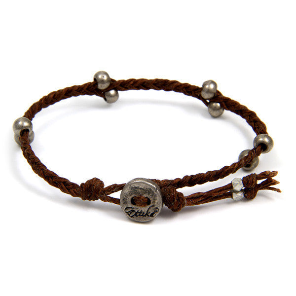 Brown Irish Waxed Linen Bracelet with Barrel Bead Accent and Button Closure