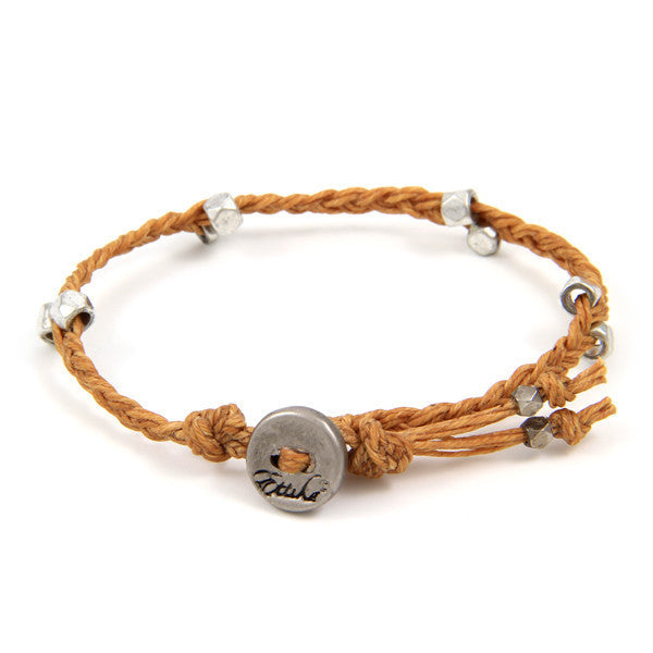 Butter Scotch Irish Waxed Linen Bracelet with Multi Faceted Bead Accent and Button Closure